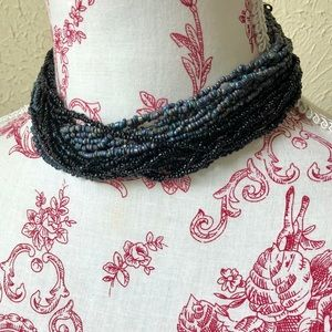 Twisted Choker Multi-Strand Seed Bead Necklace